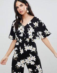 Read more about Ax paris floral short sleeve jumpsuit - black base