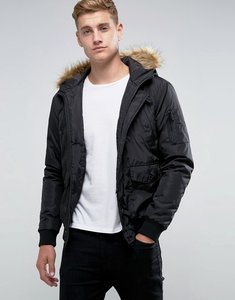 Read more about French connection short padded parka with faux fur hood - black