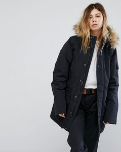 Read more about Carhartt wip anchorage parka jacket with faux fur trimmed hood - black