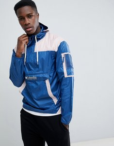 Read more about Columbia challenger packable overhead hooded jacket lightweight in blue pink - night tide pink