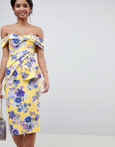 Read more about Asos design bardot fold wrap front midi dress in print - yellow floral