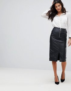 Read more about Asos leather pencil skirt with circle zip trim - black
