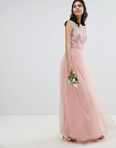 Read more about Chi chi london sleeveless maxi dress with premium lace and tulle skirt - vintage rose gold