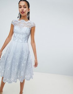 Read more about Chi chi london premium lace midi dress with cap sleeve - grey