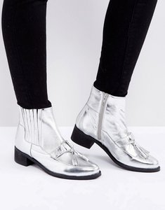 Read more about Park lane metallic leather hardware tassel boot - silver leather