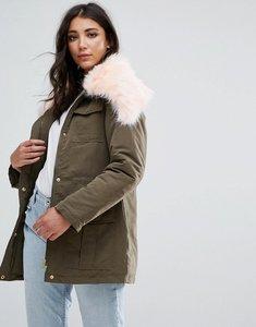 Read more about Missguided khaki fur collar parka coat - khaki