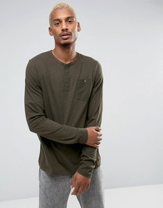 Read more about Brave soul grandad slub long sleeve top with pocket - green