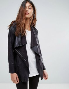 Read more about Mango waterfall faux suede jacket - black