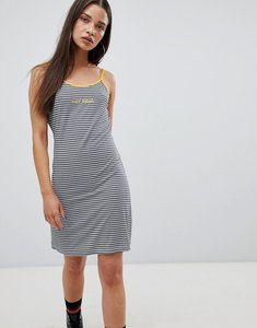 Read more about The ragged priest cami dress in stripe with slogan - stripe