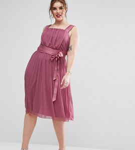 Read more about Asos curve mesh tie ribbon midi dress - pink
