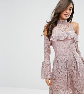 Read more about Dark pink lace cold shoulder skater dress - pink