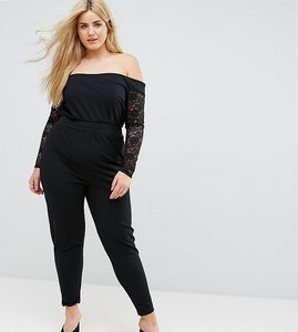 Read more about Pink clove bardot jumpsuit with lace sleeves - black