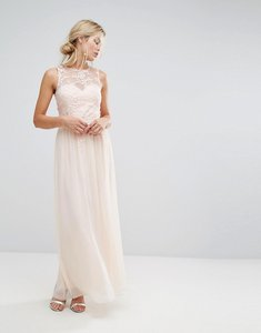 Read more about Little mistress maxi dress with floral applique - nude