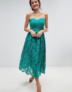 Read more about Asos bandeau lace midi prom dress - green