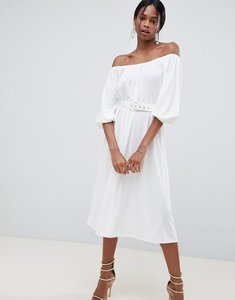 Read more about Asos design bardot midi dress with belt - white