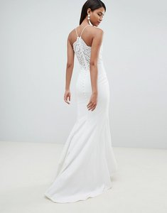 Read more about Jarlo cami strap fishtail maxi dress with lace button back detail in white - white