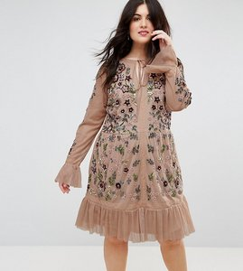 Read more about Frock and frill plus allover premium embellished fluted hem detail skater dress - nude