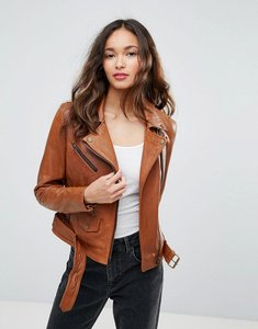 Read more about Barney s originals leather belted assymetric biker jacket - tan