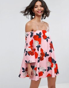 Read more about Asos off shoulder dress with bell sleeve in floral print - floral print