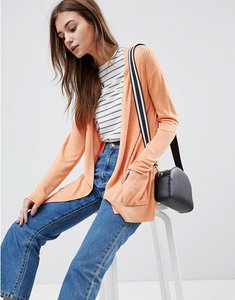 Read more about Asos design cardigan in fine knit with rib detail - apricot