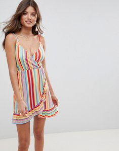 Read more about Asos design wrap mini sundress with frill detail in bright stripe - multi stripe