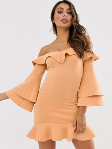 Read more about Laced in love bardot sweetheart mini scuba dress with fluted sleeves in warm beige