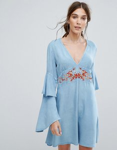 Read more about Neon rose v-neck tea dress with ruffle layer sleeves and floral embroidery - blue