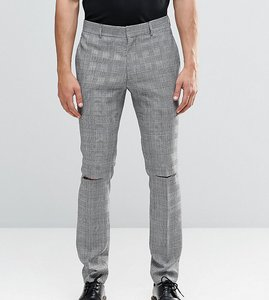 Read more about Religion skinny suit trousers in prince of wales check with ripped knees - black