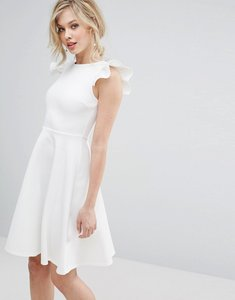 Read more about Club l frill sleeve pleat detail skater dress - cream white