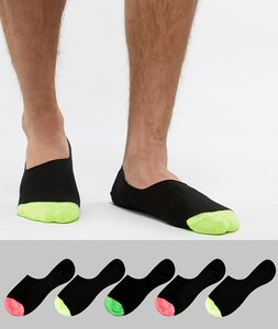Read more about Asos design invisible liner socks in black with neon toes 5 pack - black