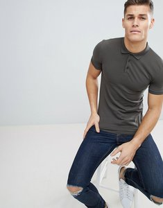 Read more about Asos design muscle fit jersey polo in khaki - camo khaki