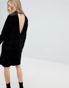 Read more about Pieces velvet high neck dress with deep v back - black