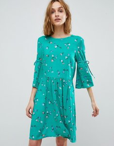 Read more about Vero moda ditsy printed skater dress with tie sleeves - pepper green