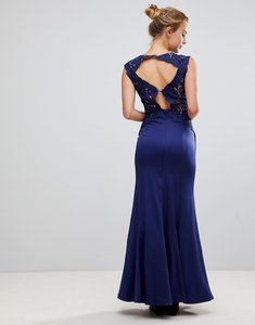 Read more about Little mistress a line bridesmaid maxi dress with lace inserts - navy