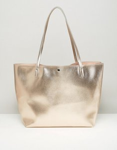 Read more about Asos metallic bonded shopper bag - rose gold