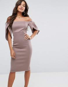 Read more about Asos petal sleeve bardot midi bodycon dress - mink