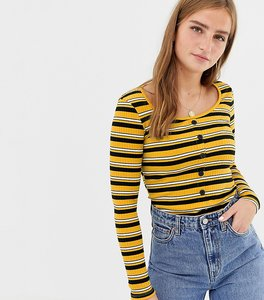 Read more about New look stripe button through top in yellow