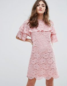 Read more about Miss selfridge ruffle lace shift dress - multi