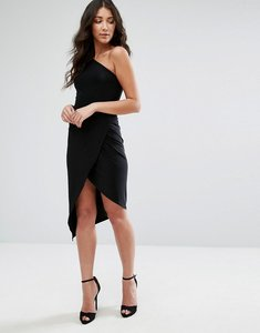 Read more about Club l one shoulder asymetric slinky dress - black