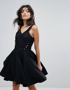 Read more about Forever unique v neck prom skater dress - black