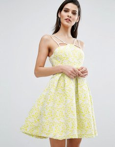 Read more about The 8th sign bonded lace skater dress - citrus yellow