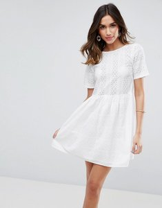 Read more about Asos mini smock dress in broderie - ivory