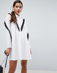 Read more about Asos trapeze shirt dress with contrast ruffle trim - white
