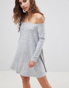 Read more about Glamorous off shoulder swing dress - grey marl