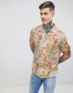 Read more about Asos design regular fit floral shirt with revere collar - green