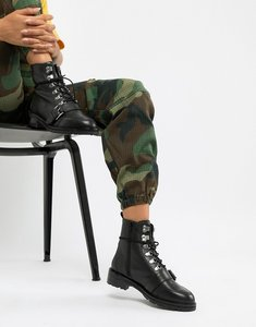 Read more about Asos design arya leather hiker ankle boots - black leather