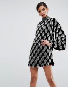 Read more about Asos red carpet embellished tassel shift mini dress in velvet - black