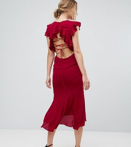 Read more about Hope ivy frill detail lace back midi dress - berry