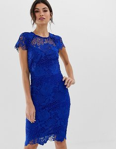 Read more about Paper dolls cap sleeve sweetheart detail all over crochet lace pencil dress - cobalt