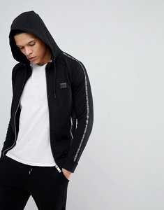 Read more about Antony morato hooded jacket in black with side stripe detail - black